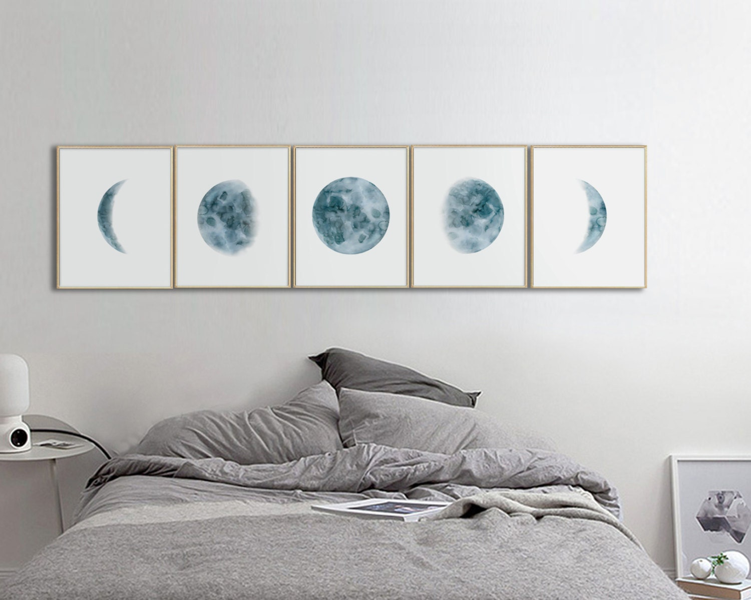 Moon Phases Prints Set Of 5 Watercolor Lunar Phases Moon Art
