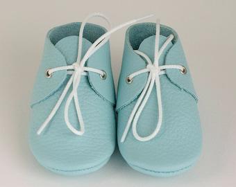 Handmade aqua baby moccasins /Newborn, infant, toddler soft shoes/Booties