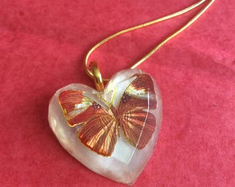 Butterfly heart shaped pendant. Necklace gift