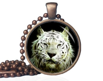 White Tiger Necklaces - White Tiger Jewelry - White Tiger Pendant - Psychedelic - Wild Animals - Animal Necklace - Tiger Necklace - Tiger