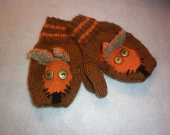 Foxes child mittens knit 100% hand-made in France Fox unisex Brown creation orange all sizes available