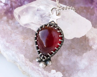 Aquarius Garnet OOAK Necklace in Sterling Silver