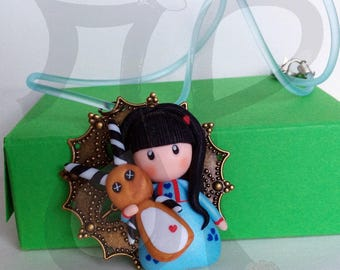 Copper stainless steel pendant with Dolly and Bunny