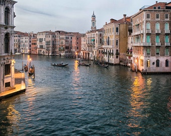 Venice Sunset View of  Grand Canal Photography, Italy Fine Art Photograph, Wall Art, Home Decor, Gondolas, Pink Pastels  - Quiet in Venice