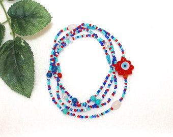 EVIL EYE NECKLACE lucky amulet red evil eye long beaded necklace hippie necklace red necklace blue necklace protection amulet