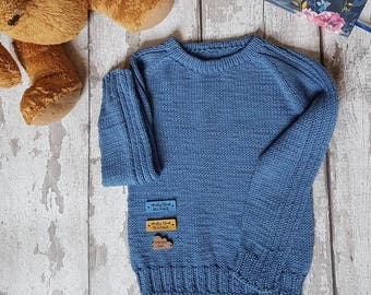 Knitted Blue Kids Sweater, Merino Kids Jumper, Cotton Sweater, Knitted Kids Jumper, Knitted Blue Jumper, Knitted Kids Pullover