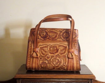 Dads Grads Sale Tooled Brown Leather Multi Zippered Compartment Handbag- Very Good Condition