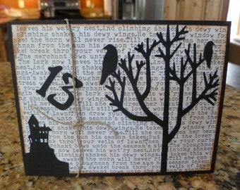 Halloween, haunted house, dead tree, black ravens, number 13, Edgar Allen Poe, hand made card