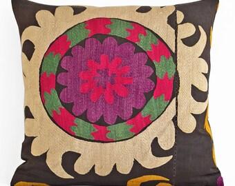 Suzani Embroidered Pillow Cover, Suzani throw pillow covers,Uzbek suzani pillows, Pillow Cover Silk Suzani, Suzani Throw Pillows, Suzani