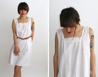 Antique White Lace Slip Dress,  SunDress, Summer Dress from 1900 /  Boho, Romantic / Size Small to Medium