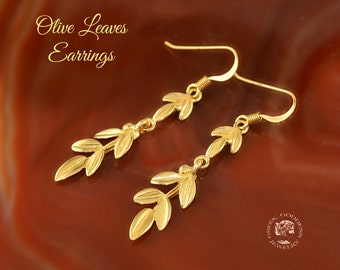 olive leaves golden dangle earrings, olive leaf, olive twig earrings, olive leaf earrings, greek earrings, olive leaves, leaf earrings