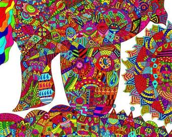 Patterns of Mind Psychedelic Art Print: Sad Robot