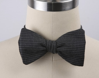 Free Style Bow Tie, Men's Bow Tie, Formal Bow Tie, Men's Accessories, Adjustable Bow Tie, Black and Gray Houndstooth Bow Tie, Hipster