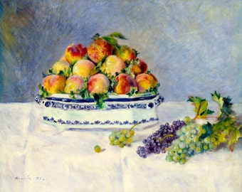 Renoir 1881, Still Life with Peaches & Grapes, HD Canvas Print or Art Print, Decor Artwork Wall Poster French Impressionism Pierre-Auguste
