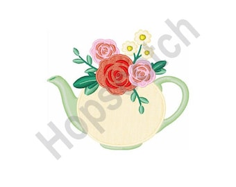 Floral Tea Pot - Machine Embroidery Design - 4 X 4 Hoop, Centerpiece, Bouquet, Flower Arrangement