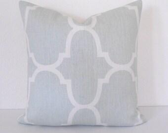 Designer pillow cover, Windsor Smith for Kravet, Seafoam Riad, blue green trellis