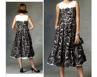 Vogue V1425 Size 6-14 or 14-22 Pamella Roland Misses Sleeveless Lace Overlay Dress Sewing Pattern / Uncut FF