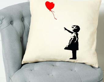 Banksy Balloon Girl Heart Quote Scatter Cushion Cover Throw Decorative Pillow Birthday Gift Home Decor Inspirational