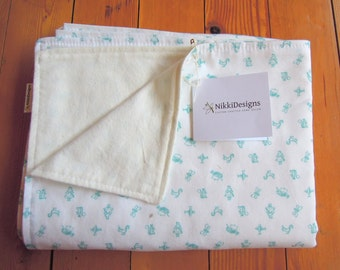 Baby Blanket, Maman Blue, Organic Cotton, Flannel, Natural, Bedding, Baby Gift