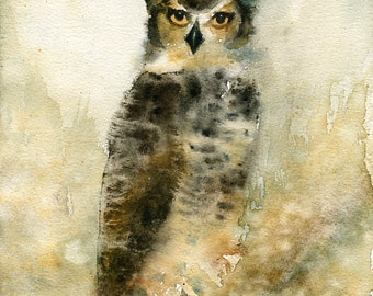 Great Owl Painting, Original Watercolor painting 8x10inch