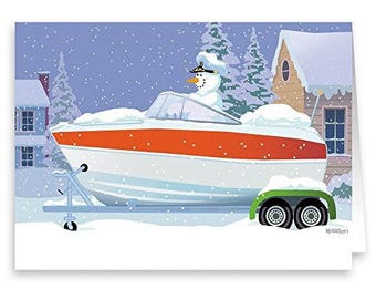 Snowman Captain Speedboat Holiday Card - 18 Cards & Envelopes - KX136