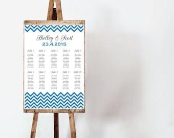 Custom Printable Wedding Seating Chart - chevron design