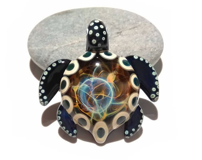 Featured listing image: Earthy Universe Turtle - Rainbow Earth Turtle Pendant - Glass Jewelry - Turtle Jewelry - Sea Turte Necklace - Blown Glass Turtle Pendant