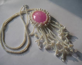 Beaded Necklace, White and Pink
