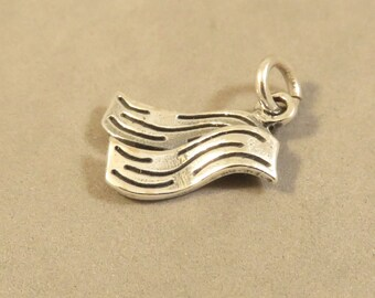 Sterling Silver 3-D 2 SLICES of BACON Charm Pendant Food Kitchen Breakfast Pieces Pork .925 Sterling Silver New kt114