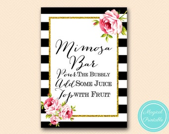 Mimosa Bar Sign, Bubbly Bar Sign, Mimosa Sign, Instruction Sign, signage, Black and White Stripes, Floral, Chic, SN03 BS10 SN26 bs10b