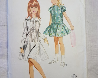 60s vintage Butterick 4218 Girls Sewing Pattern Retro Party Dress with dropped waist Size 12