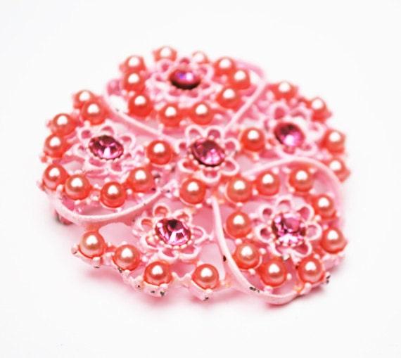 Pink Enamel Flower Brooch -  Pink pearls Rhinestone - Mid century- floral pin