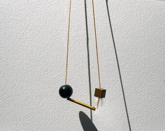 Contemporary Necklace TANGO Sculptural Necklace /// Geometric Modern Statement Metal Minimal Elegant Kinetic Unique Necklace by MüArtStudio