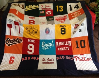 Made to Order custom t-shirt memory blanket with Trim - unlimited items and size