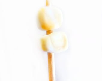 Roasted Glass Marshmallows on a Wood Stick- Realistic White Glass Button