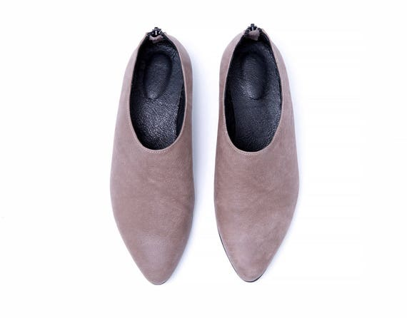 Shoes Made Shoes Formal Zipper Shoes Women Shoes with Gray Leather Custom Shoes Everyday Shoes Leather Flat Back Shoes qTwA4txpaw
