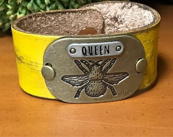 Queen Bee Distressed Leather Cuff, Yellow, Boho, Leather Bracelet Rustic, Gift for Her