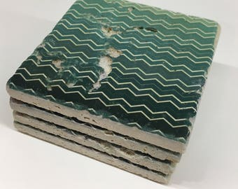 Teal Ombré Chevron Natural Stone Coasters Set of 4 with Full Cork Bottom Beach Coasters Teal Coasters Turquoise