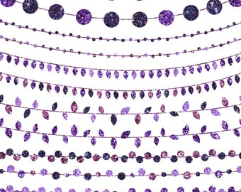 Purple String Light Clip Art, Glitter Clipart, Instant Download, Commercial and Personal Use
