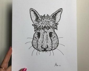 Limited edition- Bunny rabbit illustration
