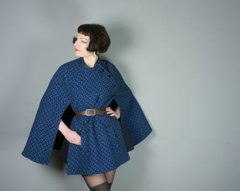 60s 70s WELSH pure wool cape in vivid BLUE, black and light green TAPESTRY pattern - Wales Cymru craft - psychedelic mod cloak coat - m-l