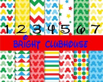 Pattern Vinyl, HTV, Bright Clubhouse, Mickey Mouse, Adhesive Outdoor 651 Vinyl, HTV, Heat Transfer Vinyl, Iron On Vinyl