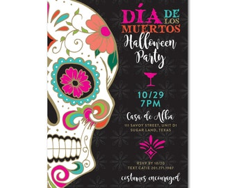 Skull Wedding Seating Chart Black And White Sugar Skull Day - Day of the dead party invitation template