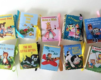 Little Golden Books Mini Book Party Favors | Miniature Birthday Boy Girl Baby Shower | Poky Puppy Animals Wish Plane Fairy | Personalize 10