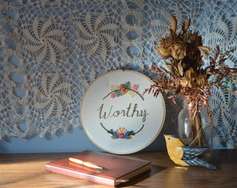 Worthy Handlettering Embroidery Wall Hanging
