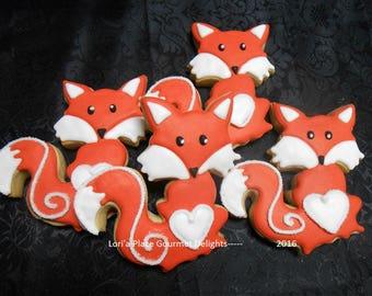 Fox Cookies - Fox Decorated Cookies - 12 Cookies
