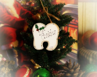 Personalized TOOTH ornament DENTIST Orthodontist gift name Christmas