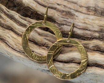 Engraved Brass Earrings, Recycled, Upcycled Brass disc hoop earrings, Brass Earring hoops, Brass Circle Earrings