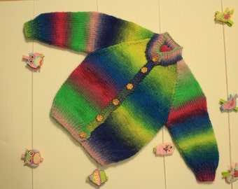 Rainbow Multi-coloured Hand Knitted jumper
