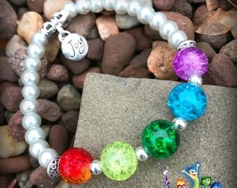 Inside-Out-inspired Glass Czech Orb Emotions Bracelet Girls Teens Moms ~ Joy Emotions Disney Pixar Charm Pearl Bracelet